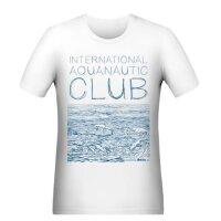 T-Shirt Slim Fit Herren Waves Blau Weiß L
